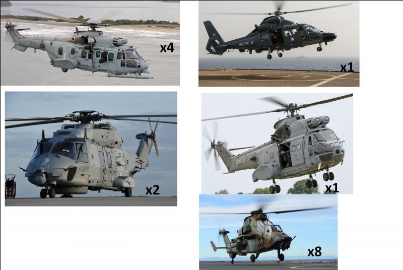Sur le porte-hélicoptères, quel est le nombre total d'appareils disponibles ?