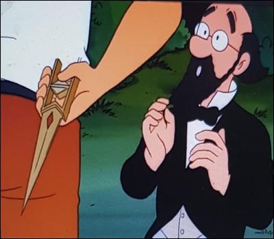 Lorsque Tintin réussit à lui ôter le poignard, comment le professeur réagit-il ?