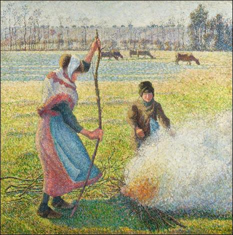"""À qui est la toile """"Gelée blanche, jeune femme faisant du feu"""" ?"""