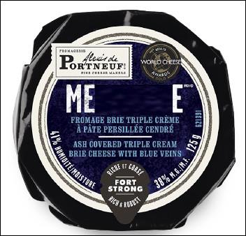 Quel est ce fromage cendré à base de lait de vache et de crème pasteurisés, à pâte persillée, produit au Québec ?