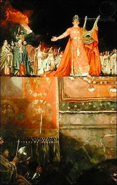 Empereur despotique chantant devant Rome en proie aux flammes. Qui est-il ?
