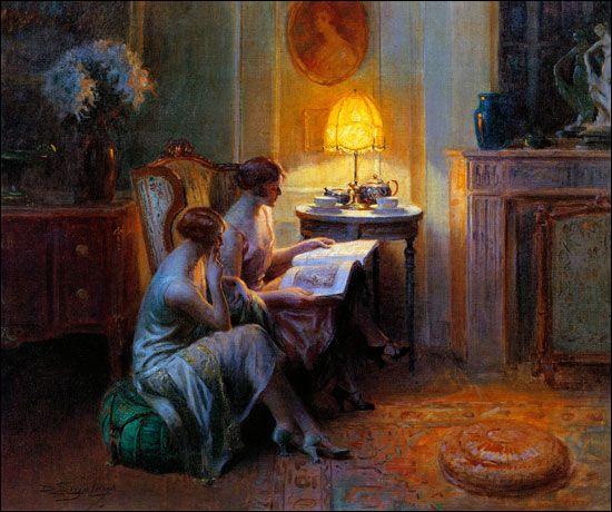 Sur sa toile deux jeunes femmes lisent un journal :
