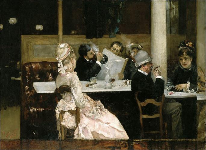 Qui a représenté la vie quotidienne dans ce bistrot parisien où on lit le journal ?