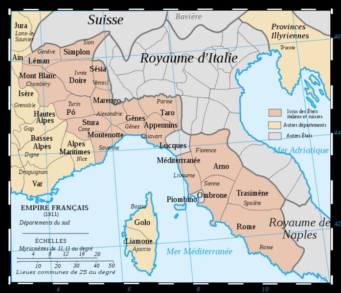 Le Mont-Blanc est une montagne très célèbre. Mais c'était aussi un département. Durant combien de temps y a-t-il eu un département nommé ainsi (nord-ouest de la carte ; comme préfecture Chambéry) ?