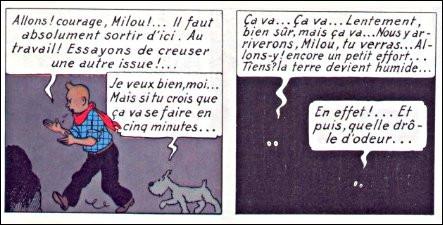 """Dans """"Tintin en Amérique"""", Milou trouve qu'il y a comme une drôle d'odeur... Mais laquelle ?"""