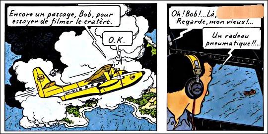 Un avion est en train de survoler un volcan, lorsque tout à coup, le copilote aperçoit quelque chose : que dit-il à son collègue, pour lui indiquer où regarder, à vue de nez ?
