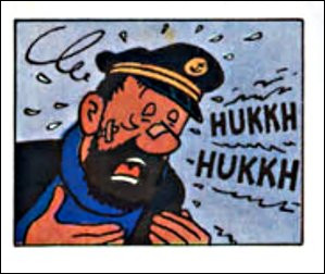 """Le pauvre capitaine en a pris un coup dans le nez... Qu'en n'est-il exactement ? (Nous sommes dans """"L'Affaire Tournesol"""", en fuite à bord d'un hélicoptère)"""