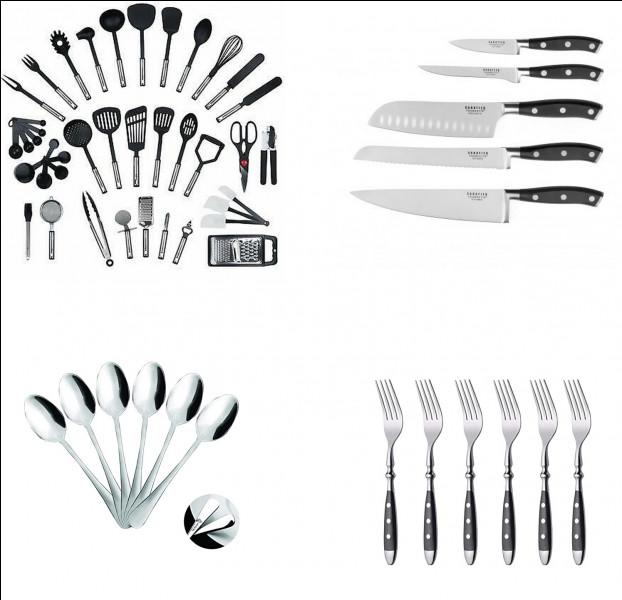 Parmi ces ustensiles de cuisine, combien voyez-vous de couteaux ?