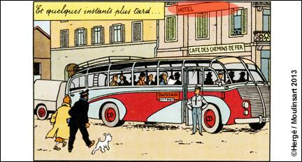 Page 44 du même album, les deux compères s'apprêtent à prendre un bus, lequel est garé devant un hôtel (helvétique) : comment se nomme-t-il ?