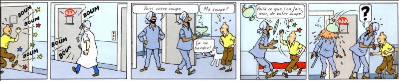 """Encore une fois, voici un bien singulier établissement dans lequel se retrouve Tintin : de quel genre, exactement ? Et quel est son numéro de """"chambre"""" ? (Cases 2 et 5)"""