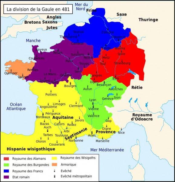 La colonisation de la Gaule par les peuples germaniques est due, à l'origine, à [quelle composante ?] : des groupes de [noms de peuples ?] viennent donc s'y installer.