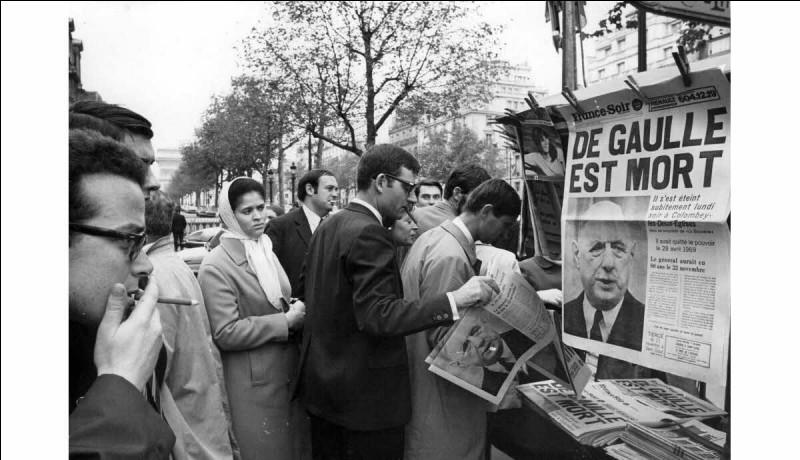 Mort du général de Gaulle, le 9 novembre ...