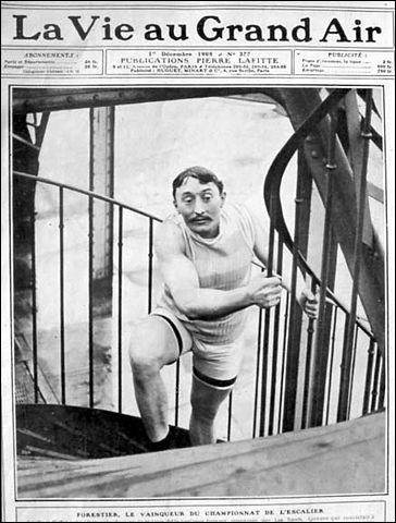 """Sport > 1891 : un boulanger landais monte jusqu'au 1er sur des échasses. 1905 : un [quel métier ?] gagne le """"Championnat de l'Escalier"""" [nb de marches ?] en 3 mn 12 s."""