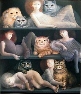 À quelle artiste peintre doit-on ''Dimanche après-midi'', cette huile sur toile de 1980 (en photo) ?