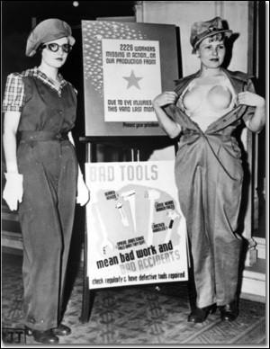 Quand les femmes travaillaient en usine pour remplacer les hommes partis à la guerre, quelle partie du corps protégeaient-elles tout particulièrement avec des outils en plastique mis alors en vente ?