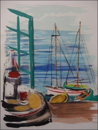 """À qui doit-on cette lithographie représentant """"Le Port de Cannes"""" ?"""