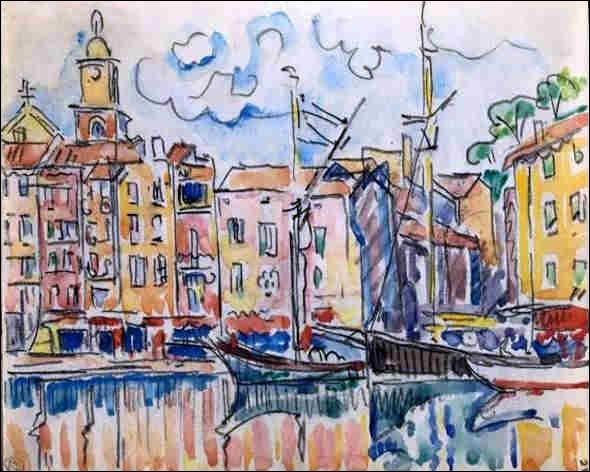 Et voici une dernière aquarelle de ce petit port, signée par l'artiste :