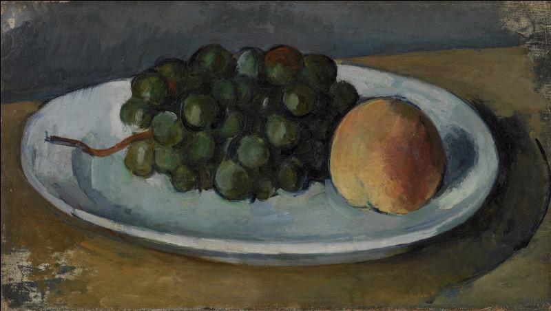 """Qui a peint """"Grappe de raisins et pêche sur une assiette"""" ?"""
