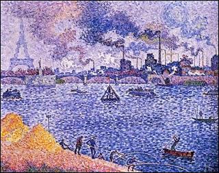 On reconnaît le Pont de Grenelle, et la tour Eiffel, représentés par l'artiste :