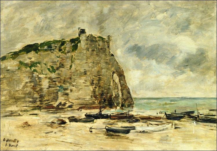"""Qui a peint """"Étretat, bateaux échoués et falaise d'Aval"""" ?"""