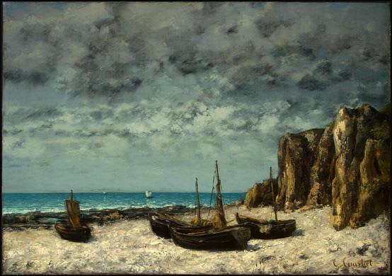 """Qui a peint """"Bateaux sur une plage, Étretat"""" ?"""