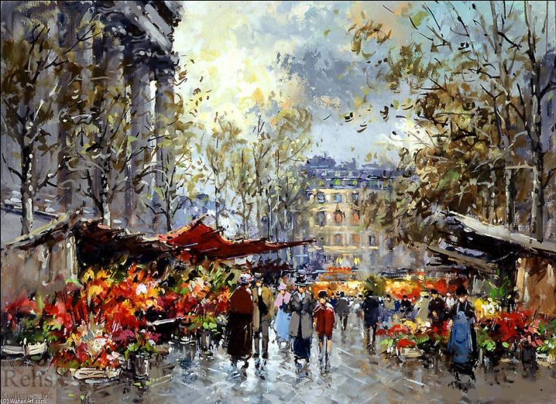 """Nous voici à Paris, au """"Marché aux fleurs de la Madeleine"""", par l'artiste :"""