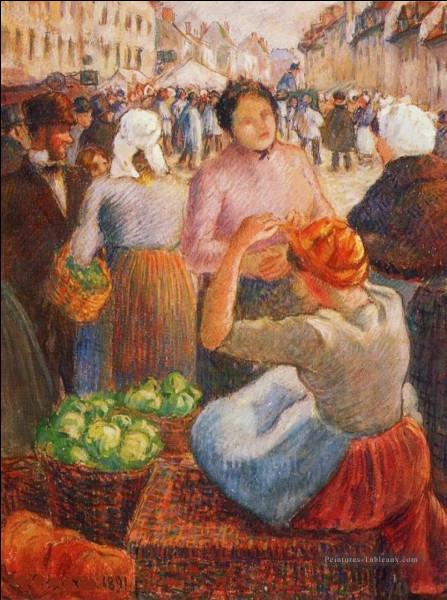 """Nous abordons """"La Place du Marché à Gisors"""" sur la toile du peintre :"""