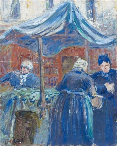 Voici une scène de marché à Falaise, immortalisée par :