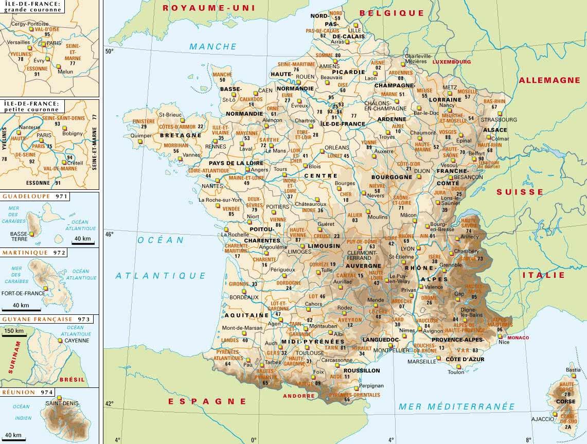 France : régions et départements
