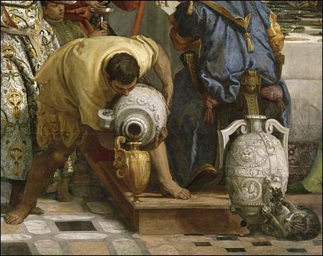 Ce chat au pied du vase de pierre est tiré d'un grand tableau de Véronèse que l'on peut voir au Musée du Louvre. Quel est le titre de ce tableau ?