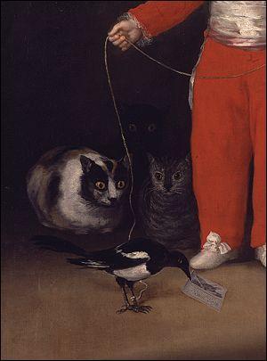 Les trois chats convoitant cette pie sont représentés dans un tableau, le portrait d'un enfant. Quel artiste espagnol a peint ce tableau ?