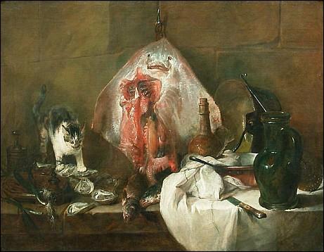 Dans ce tableau, ce sont des poissons qui intéressent le chat… Quel artiste français a peint ce chat ?