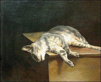 L'artiste qui a peint ce tableau « Le chat mort » est l'auteur d'un célèbre tableau du musée du Louvre. De quel peintre s'agit-il ?
