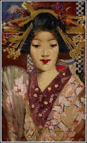 C'est une des versions des Geisha girls que ce peintre écossais (l'un des plus importants de l'Ecole de Glasgow) a réalisé en 1894 après son voyage d'études de 18 mois au Japon.