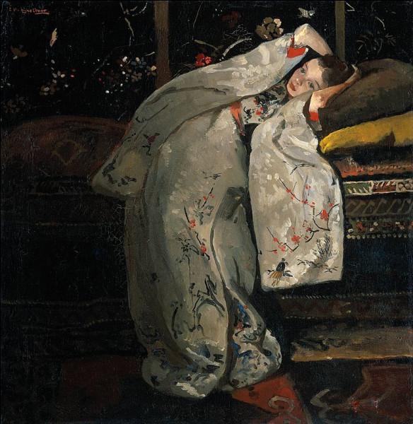 Ce peintre néerlandais, adepte du japonisme, réalise en 1893-1894 sa Série des filles en kimono, représentant Geesje Kwak, son modèle préféré. Ici elle est La fille en Kimono blanc.