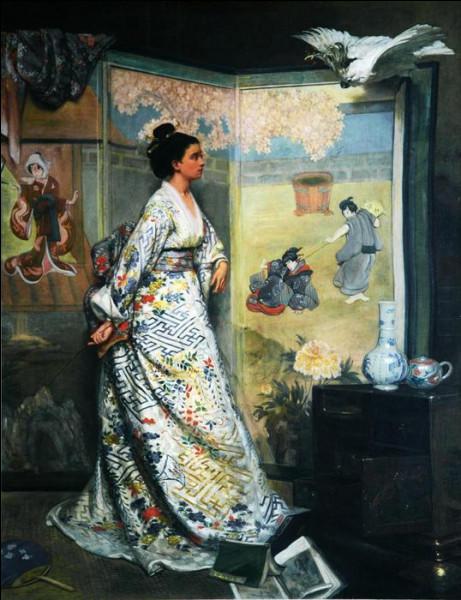 Célèbre pour ses portraits et ses scènes de genre, ce peintre belge affectionnait les décors orientalistes ou japonisants tel celui de l'Admiratrice du Japon.