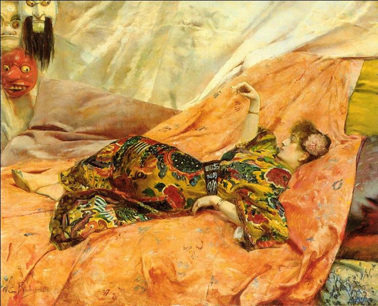 C'est un des nombreux portraits de Sarah Bernhardt réalisés par ce peintre orientaliste qui passe la moitié de son temps à Alger et est le fils adoptif de Théodore de Banville.