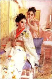 """""""Les demoiselles Salomon"""" en kimonos avec paravent, exotique pour une peintre suédois !"""