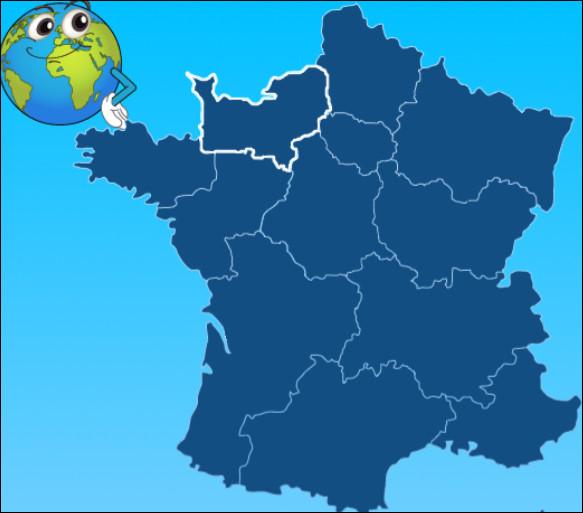 La région en blanc est la Normandie.