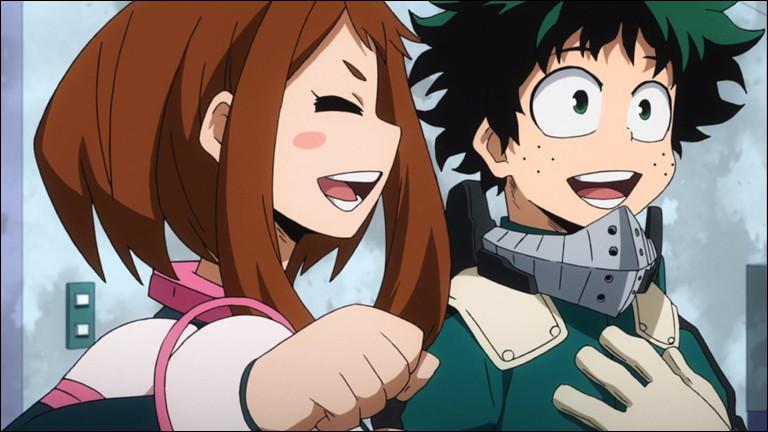 """Dans """"Boku no Hero Academia"""", comment Uraraka rattrape-t-elle Deku avant qu'il ne se rétame les dents sur le sol devant l'académie ?"""