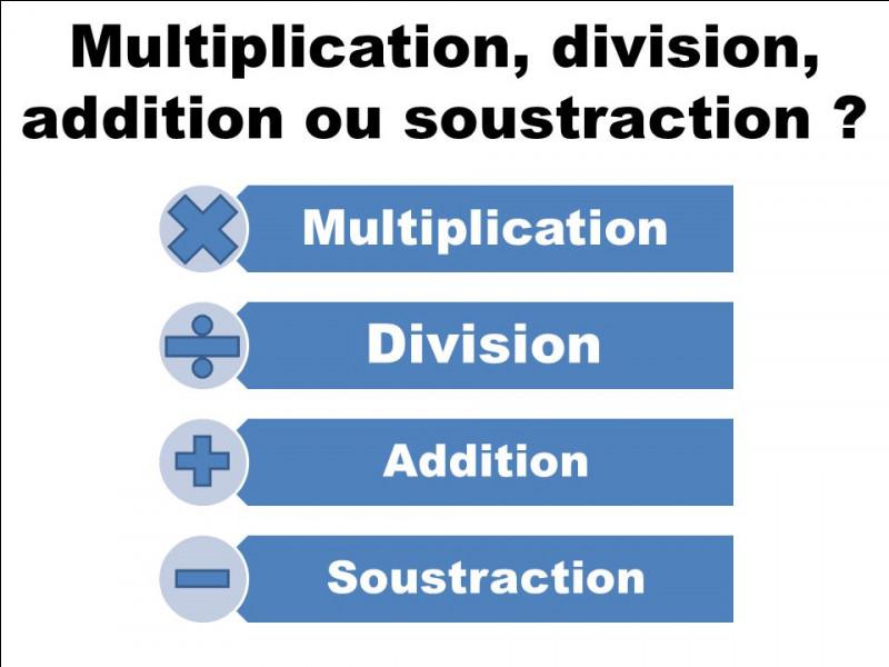 Un peu de vocabulaire désormais. Si je calcule 1+1, on lira « la ______ de 1 et de 1 ». Faites la même chose avec les autres opérations, dans l'ordre : soustraction, multiplication, division.