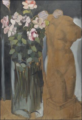 """À qui doit-on """"Bouquet de fleurs et l'esquisse d'une statue"""" ?"""