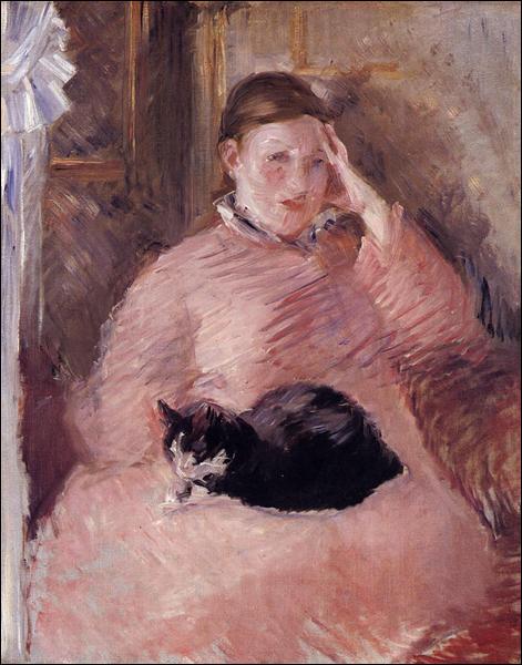 """Qui a fait le portrait de cette femme avec un chat"""" ?"""