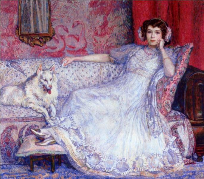 """Qui a représenté """"La Dame en blanc, accompagnée de son chien ?"""