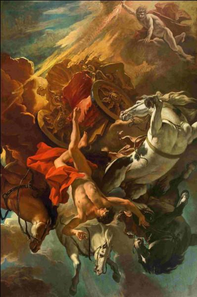 Fils du dieu Hélios, trop ambitieux voulant conduire le char de son père, sa chute lui sera fatale. Qui est-il ?