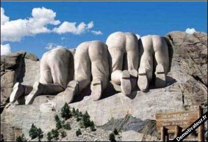 - Blind test --+-+-+-+-+-+-+Les visages de quels présidents américains peut-on voir émerger de l'autre côté du mont Rushmore ?