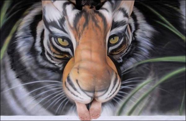 Ce n'est pas un vrai tigre que vous voyez sur cette photo !
