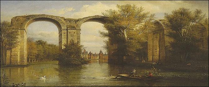 Au fond du parc de quel château situé en vallée de l'Eure se dressent les vestiges d'un aqueduc ?