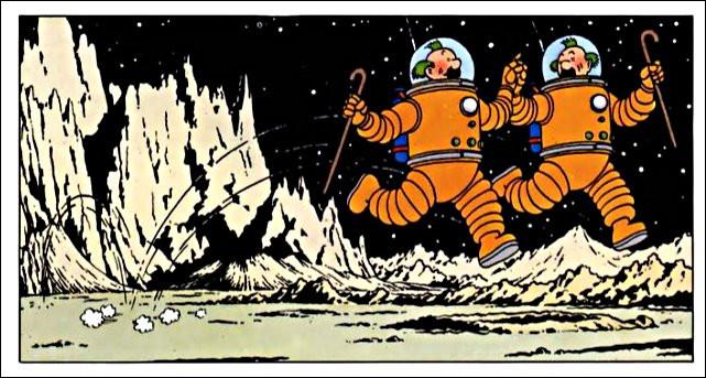 """Les Dupondt - la police, donc - se la jouent """"Walking on the Moon"""" : rien de plus normal ! Mais pourquoi ont-ils les cheveux verts ?"""