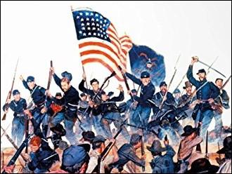 La guerre civile américaine 1861-1865 opposa l'Union des États-Unis dirigé par Abraham Lincoln aux États confédérés dirigés par Jefferson Davis. Les sudistes enchaînèrent les victoires jusqu'à la bataille de ... qui fut un tournant décisif dans le conflit.